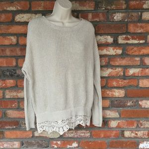 Pins And Needles Knit Sweater with Lace Hemline